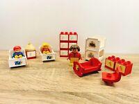 LEGO Duplo Vintage Red Bedroom Bunk Beds Crib Drawers Chair Mother Children Set