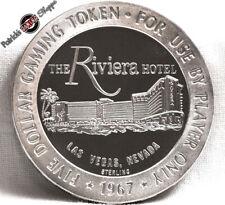 $5 FULL PROOF STERLING SILVER SLOT TOKEN RIVIERA CASINO 1967 FM LAS VEGAS COIN