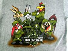 Harley Davidson Motorcycle Looney Toons Military Medium T-Shirt EL Paso Texas