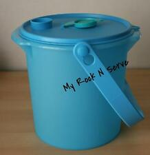 Tupperware  5QT Bucket Canister w/ cap and Handle Blue Spa New
