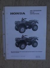 2001 Honda ATV TRX350FE/FM Rancher Set Up Instruction Manual Wiring Diagram L