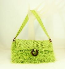FUZZY LIME GREEN HAND CROCHETED KNIT PURSE SHOULDER STRAP HANDBAG COTTON LINING
