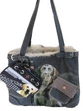 NWT FUZZYNATION Dog Print Shoulder Handbag Purse Bag + Wallet Black Lab