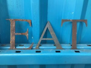 """EAT 5"""" Rusted Metal Letters Sign Shop Rustic Classic Industrial Home"""