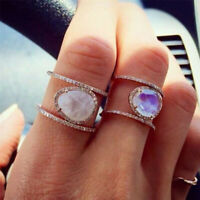 Fashion 925 Silver Moonstone Women Jewelry Proposal Party Knuckle Ring Size 6-10