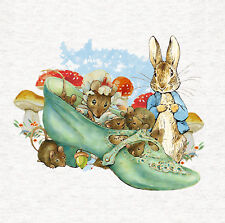 """Peter Rabbit """"Mouse In Shoe"""" Fabric Craft Panel / Quilting Panel, 8x8 inch"""