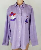 Las Olas Women's Red Hat Society Size XL Purple White Shirt Checks Pocket LS BF