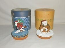 2000 Lot of 2 Lang Candle Topper in the Boxes Skating Santa & Christmas Spirit