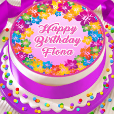 PERSONALISED BIRTHDAY MESSAGE PINK FLOWERS 7.5 INCH EDIBLE CAKE TOPPER B-074G