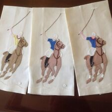 Three Vintage Appliqued Polo Towels EXCELLENT