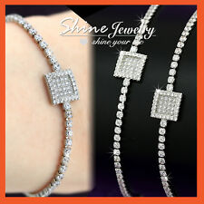 18K WHITE GOLD GF LADIES GIRLS MINIMALIST CRYSTAL wedding TENNIS BANGLE BRACELET