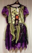 NUOVO ragazze Light Up SMERALDO Spider Witch Costume E Cappello età 9/10 anni