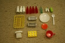 Vintage 1960's Barbie Deluxe Reading Dream Kitchen Dishes Eggs Ice Phone Bottles