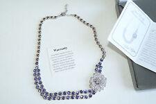 Nolan Miller Purple Rhinestone Necklace Signed Flower Pave Silver Bezel 16 NEW