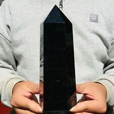 1590g Natural Black Obsidian Quartz Crystal Point Healing Wand Obelisk