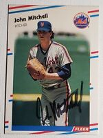 1988 Fleer John Mitchell Auto Autograph Card Signed New York Mets Orioles #145