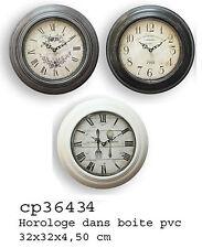 Orologio da muro parete tondo in pvc stile vintage cm 32*32 in 3 decori ass.
