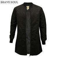 Mens Brave Soul Black Longline Bomber Baseball Collar Flyer Mac MA1 Jacket Coat