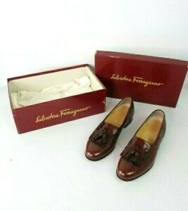 Salvatore Ferragamo Leather Lucas Bordeaux Calf skin Mens Size 7.5 D Italy