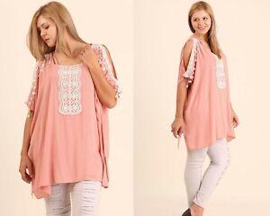 Umgee Plus Blush Pink Asymmetric Hem Lace Open Sleeve with Side Slit Tunic XL 1X