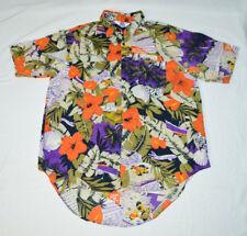 VTG Ocean Isle Hawaiian Aloha Hibiscus Tropical Flowers Foliage Shirt Mens L