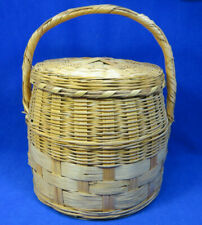 Large Vintage Covered Wicker Basket Sewing or Crafts with Lid and Handle