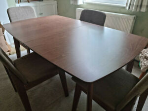 Kensington Extendable Dining Wooden Table mid century retro style inc 4 chairs