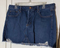 American Eagle Frayed Hem Distressed Denim Jean Mini Skirt Size 14