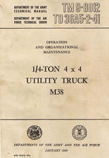 M38A1 Willys Army Jeep Shop Service Repair Manual & Parts Manual M-38A1