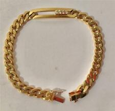 Splendid 18K Yellow Gold Curb Chain Link Bracelet W/ 4 Diamonds Italy 23.3 Grams