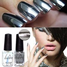 2Pcs Mirror Nail Polish Silver Nail Polish Varnish Top Coat Metallic Nails Art