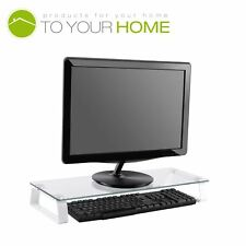 Dihl Clear Glass Computer PC/iMac Monitor TV Screen Display Riser Mount Stand