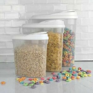BEST SET OF 3 Canister Cereal Containers with Lids, 1.2 Lt - 1.7 Lt - 2.4 Lt