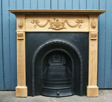 Reclaimed Antique Style Cast Iron Arched Inset Stripped Carved Pine Adam Mantle