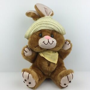 Vintage 80s Bunny Rabbit Plush Belly Button Straw Hat Cute Country MTY Fairy Kei