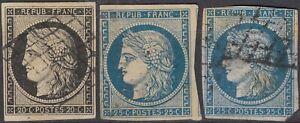 1849 lot 3 ceres 20c noir 25c bleu Y&T 3 4 cote 180€ cv +$205
