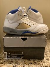 AIR JORDAN 5 RETRO WHITE ROYAL STEALTH MEN SIZE 10.5