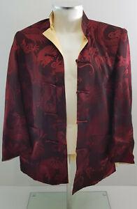 Burgundy Gold Chinese Men Reversible Silk Satin Coat Jacket  Kung Fu Size L / XL