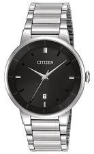 Citizen BI5010-59E Men's Quartz Stainless Steel Black Dial 3-Hand Dress Watch