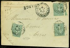 """FRANCE : 1907. Scott #139(3) """"CHARGE"""" mark & others."""