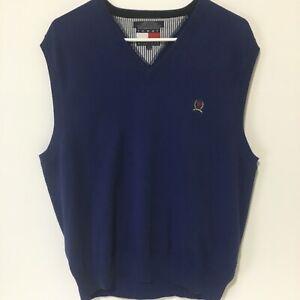 Tommy Hilfiger Mens L Navy Blue V neck Sweater Vest With Crest on Chest