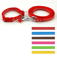 Cute Small Dog Puppy Collars and Leash set with Bell for Chihuahua Yorkie Pink
