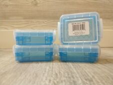"Set of 4 Blue Super Stacker 3"" x 2.5"" x 1.25"" Bitty Box Locking Lid"
