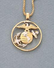 "Marine U.S. Military Coin Pendant & Necklace. Hand cut - 1"" diameter ( # 753 )"