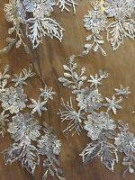 """1 MTR SCALLOPED WHITE EMBROIDED BEADED CRYSTAL BRIDAL LACE NET FABRIC...58"""" WIDE"""