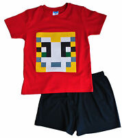 Boys Girls StampyLongNose Mr Stampy You Tube  Pyjamas Red SHORT PIXEL 7 TO 12 YR