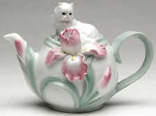 ✜ COSMOS Persian Cat with Iris Porcelain Tea Pot Teapot