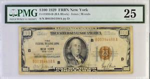 FR#1890-B 1929 PMG FRBN NEW YORK ( BA BLOCK) JONES WOODS