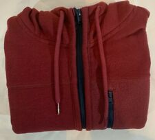 HOLLISTER Mens Zip Through Hoodie Sweater Small Burgundy Red Cotton/Polyester