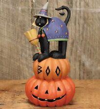 Williraye-Boo-Hilda the Witch  WW 6189 Halloween Figurine Black Cat On Pumpkins